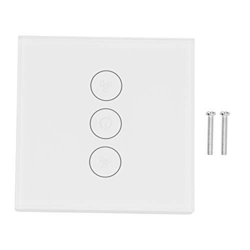 Interruptor inteligente WiFi, interruptor de control de teléfono móvil, interruptor de ventilador doméstico tipo 86, enchufe europeo para el hogar, 100-240 VCA, control de voz de 3 vías