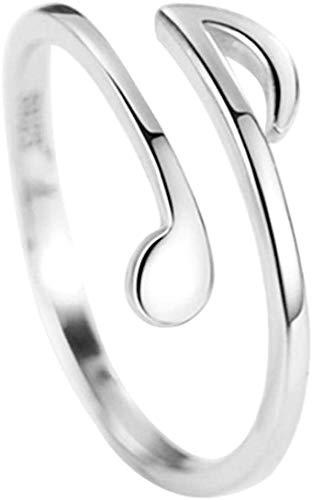Jyuesi - Anello geniale con note musicali, stile semplice, da donna, anello regolabile e nessuno, 44 (14.0), colore: SV, cod. {35}@}135745