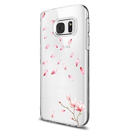 Funda para Samsung Galaxy S6 / S6 Edge / S7 / S7 Edge Carcasa Flor Mariposa Niña Mujer Panda Patrón Estuche Transparente Silicona TPU Suave Caja Premium Delgado Proteccion Caso (S7 Edge, 7)