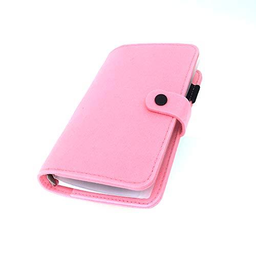 手帳 バインダー紐 システム カバー6穴 フェルト マテリアルシステムハンドブックビジネス学生6リングA5 A6ペンカード入れ, Pink 25, A6 combo