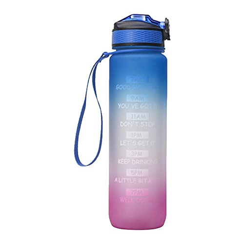 Botella de 1 litro con marcador de motivación, sin BPA, botella de agua Tritan con tapa de bloqueo, botella de deporte para niños, bicicleta, gimnasio, yoga, actividades al aire libre, camping