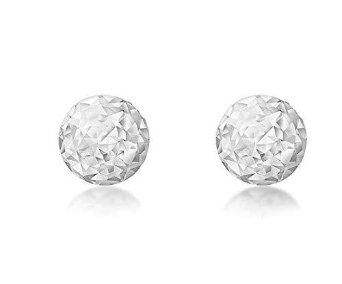 Carissima Gold Women's 9 ct White Gold 5 mm Diamond Cut Ball Stud Earrings
