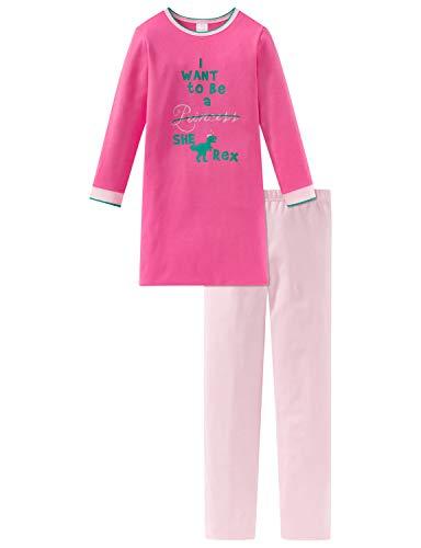 Schiesser Mädchen Md Anzug lang Zweiteiliger Schlafanzug, Rot (Pink 504), (Herstellergröße: 104)