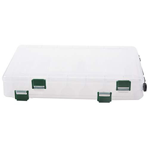 Senmubery 27 * 18 * 4,7 cm Angelgeraet Doppelseitige Kunststoff Fischkoeder Box 14 Faecher