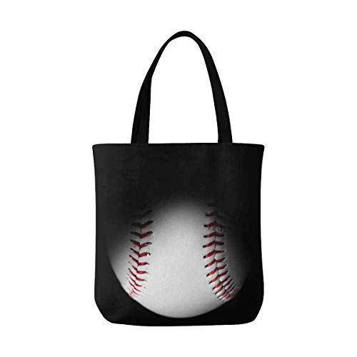 Baseball in Black Canvas Tote Bag Handbag...