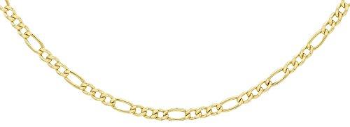14 Karat 585 Gold Italienisch Flach Figaro Gelbgold Unisex Kette - Breite 3 mm - (60)