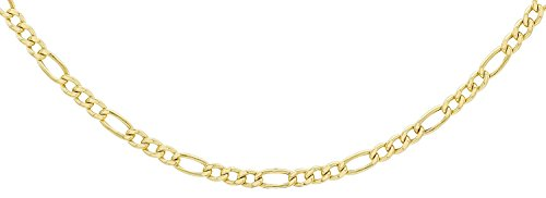 14 Karat 585 Gold Italienisch Flach Figaro Gelbgold Unisex Kette - Breite 3 mm - (45)