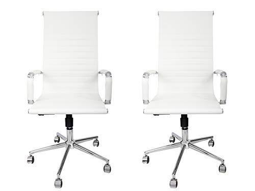 Kit 2 Cadeiras Presidente Giratória Esteirinha Charles Eames - TUTTO HOME (BRANCO)