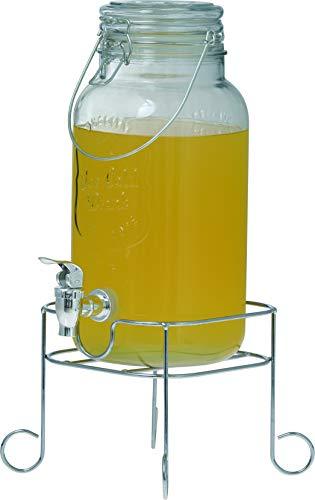 Clic-And-Get Enjoy Hochwertiger Getränkespender aus Glas mit Ständer und Zapfhahn Glasdeckel Wasserspender Limonadenspender Saftspender Dispenser Trinkspender Schorle (5 L Spender + Standfuß)
