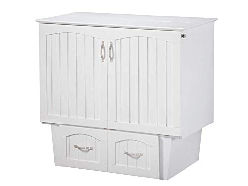 Atlantic Furniture Nantucket Murphy Bed Chest with Charging Station & Mattress, Twin, White