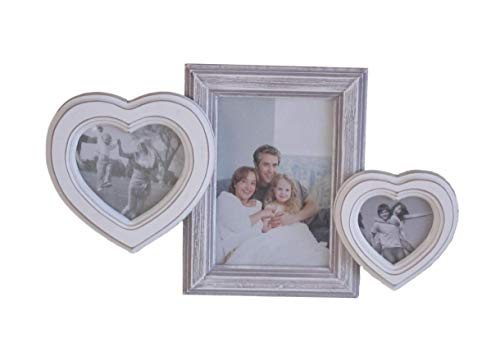 elbmöbel Bilderrahmen in weiß antik Collage aus Holz Shabby Vintage Rahmen Wandrahmen (26x33x3)