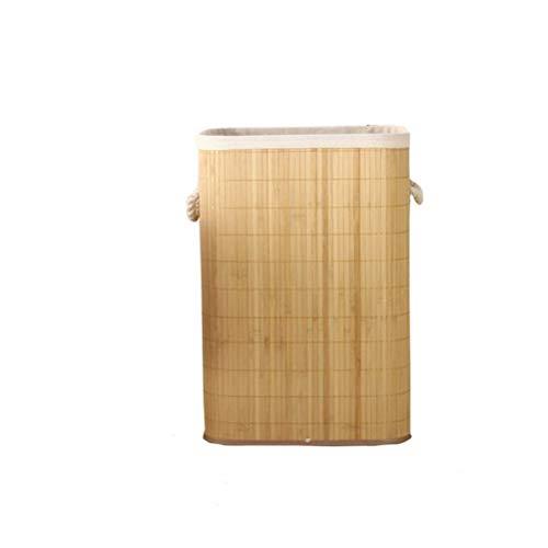 WUHUAROU Cesta de almacenamiento plegable para la colada, tejido a mano, de bambú de gran capacidad, con cestas, cubierta para ropa del hogar, juguetes, cubo de almacenamiento