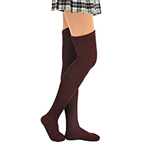 """MATERIAL: 80% Cotton/12% Nylon/8% spandex .Our knee high socks are made from soft and comfortable poly-cotton blends, which is breathable and comfortable. The boot socks have good elasticity and will not fall down. SIZE: Socks Leg Length: 29.5"""", Shoe..."""