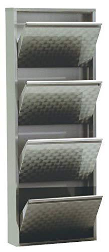 simple..*M* 4001070442628 Schuhklappschrank, 50 x 15 x 140 cm, metall, grau