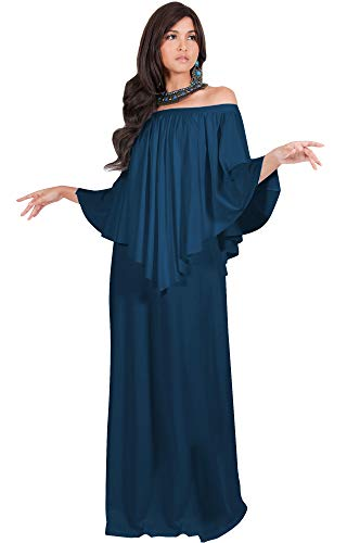 KOH KOH Plus Size Womens Long Strapless Shoulderless Flattering Cocktail Evening Off The Shoulder Cold Sexy Evening Flowy Formal Slimming Gown Gowns Maxi Dress Dresses, Blue Teal 2XL 18-20