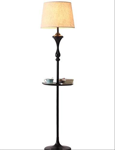 GLXLSBZ Lámpara de pie, Estante de Mesa y Pantalla de Tambor de Tela Blanca Bombilla LED de 9W Interruptor de pie Luz de pie para Sala de Estar Dormitorio Dormitorio de Lectura
