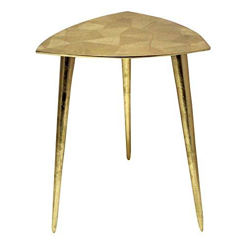 casamia Beistelltisch Metall Dekotisch Couchtisch rund o. eckig klassisches Design Aluminium Silber- o. Gold Farbe Alster dreieckig 35x46x35 cm vergoldet