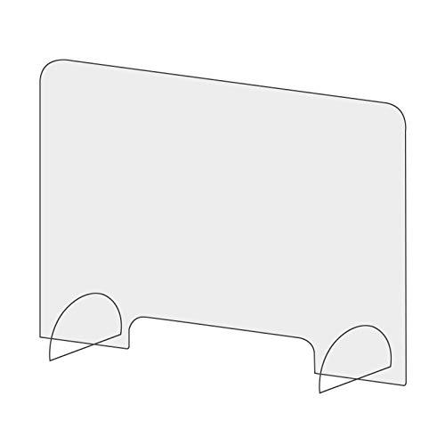 Creechwa Bärbar bänkskärm säkerhetsskärm, bänk personligt skydd anti-spray skrivbordsdelare, mottagning skärmskrivbordsavdelare, klar akrylbarriär för restaurang matbutiker, transaktionsfönster 40x40x0.4cm