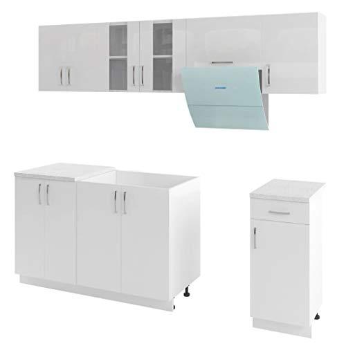 vidaXL Küchenzeile 7-TLG. mit Dunstabzugshaube Küchenblock Einbauküche Küche