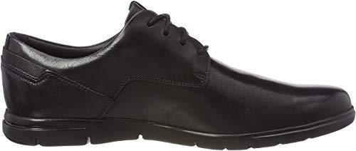 Clarks Vennor Walk, Zapatos de Cordones Derby para Hombre, Negro (Black Leather -), 42 EU