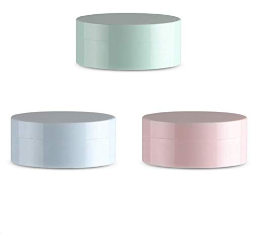 LASSUM 3 Pieces 5ml Plastic Empty Loose Powder Container Make-up Loose Powder Puff Box Case with Sifter and Lids (Random Color)