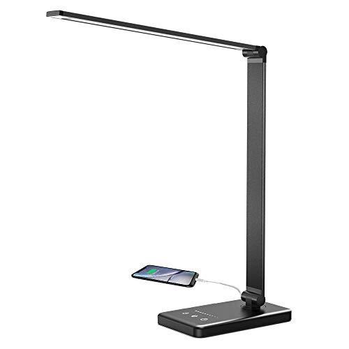 C-star Schreibtischlampe LED 6W Büro Tischleuchte 5 Farb und 10 Helligkeitsstufen dimmbar Memory-Funktion Touch-Bedienung - USB-Anschluss zum Aufladen von Smartphones