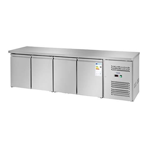 Royal Catering Kühltisch Arbeitstisch mit Kühlung RCLK-S449 (450 Liter, Edelstahl Arbeitsplatte, 343 W Secop Kompressor, 2 Kühlfächer, Kältemittel R290)