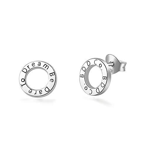 """BDD CO. Stud Earrings, """"Be Dare to Dream"""", Women 925 Sterling Silver Earrings, Original Design Earrings, Hollow-carved Design Earrings"""