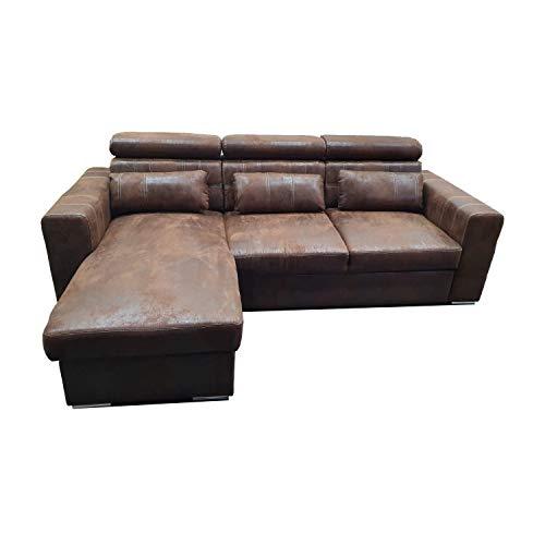 Reboz Couch Schlafsofa Maggio Links Vintage Stoff Wildleder Schwarz Anthrazit Braun Ecksofa (Vintage Braun)