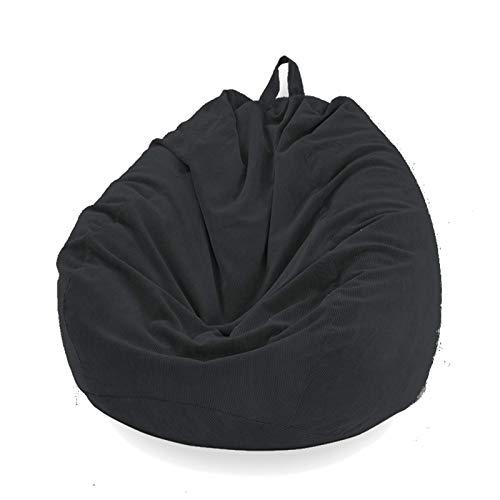 Sitzsackbezug in Birnenform, ohne Füllung, für Sofa, Sitzsack, Liegestuhl, Sitzsack, Beutel für Erwachsene und Kinder, Zubehör für Möbel (schwarz, S)