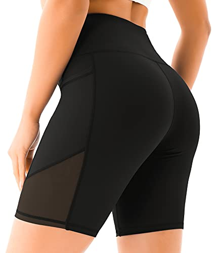 VOEONS Yoga Shorts for Women Spandex High Waisted Gym Shorts for Workout Biker Running Athletic Tummy Control with Pockets (Black,L)