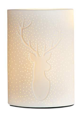 GILDE Lampe Hirsch - aus Porzellan mit Lochmuster im Prickellook H 28 cm
