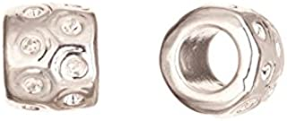 Zik-zak rondelle silver-plated large hole charm fits 16pcs ss4.5/pp10 Rhinestones 9x7.6mm