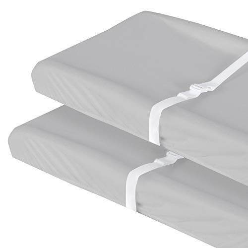 Changing Pad Covers Grey for Boys Girls, 100% Organic Cotton 2 Pack Unisex Changing Table Pad Cover Cradle Sheet Soft and Breathable 16' x 32' for Standard Baby Changing Pads, Grey
