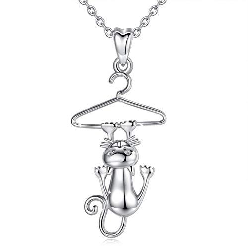 FyaWTM Collar Joyas Colgante Plata de Ley 925 Divertido Gato Estante Colgante Collar Animal Mascota Suerte Joyería Cadena de Enlace para Mujer Chica