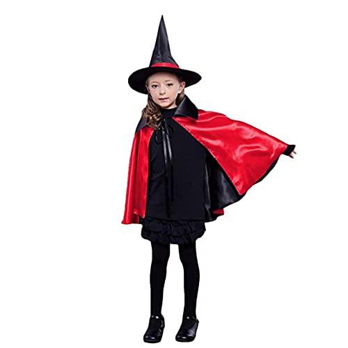 Sraeriot Cabo De Brujas para Niños De Halloween con Sombrero Doble Lateral Vampire Cloak Unisex Navidad Halloween Cosplay Capes para Niños Y Niñas (27.5', Negro/Rojo)