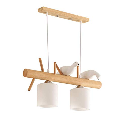 CLX Holz Kronleuchter, Lüster Warmweiß Licht Antik Lüster Metall Weiße Stoffschirme Schlafzimmer,Bothends