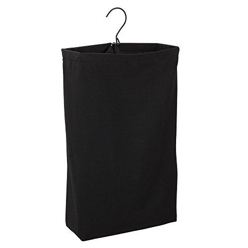 Household Essentials 149-1 Hanging Cotton Canvas Laundry Hamper Bag - Black