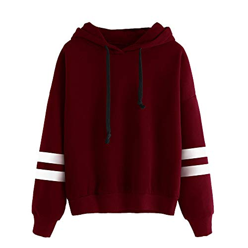 iHENGH Damen Langarm-Kapuzenshirt für Frauen Pullover Mit Kapuze Pullover Tops Bluse(XL,Rot)