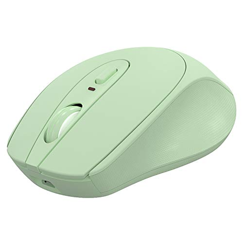 Wireless Mouse,Ergonomic Wireless Portable Mobile Mouse ,2.4G Noiseless Mouse with USB Nano Receiver ,Rechargeable Wireless Mouse for Laptop,PC,Computer,Notebook (Green)