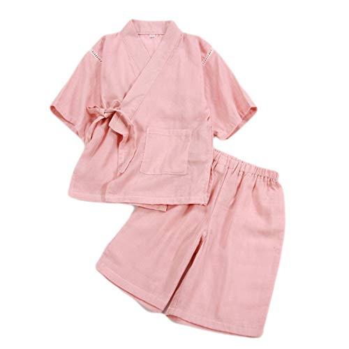 PAUBOLI - Conjunto de Pijama de Manga Corta y pantalón Corto de algodón japonés para niñas de 2 a 8 años Rosa Rosa 5-6 Años