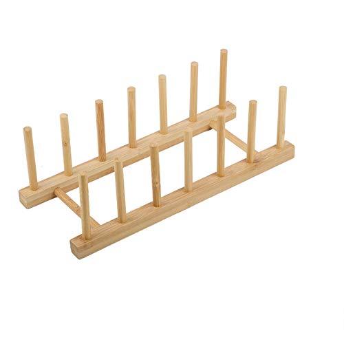 Bamboo Plate Drain Rack, Pot Dish Organizer for Cabinets Kitchen, 30x11.5x9.8cm/11.8x4.5x3.8in