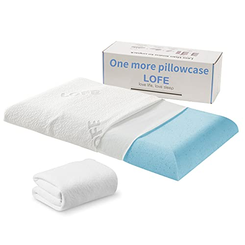 Lofe 2.5'' Thin Memory Foam Pillow for Stomach Sleepers - Hypoallergenic with Two Washable Bamboo Covers - Flat, Slim, Therapeutic and Ergonomic for Spinal Support and Improved Breathing