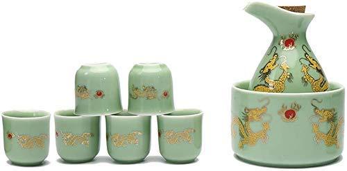 Juego de tazas de sake japonesas, juego de 8 piezas de sake, juego de copas de vino de cerámica con maceta de calentamiento, diseño de patrón Ssangyong, para sake/Shochu/té, mejor regalo, vajilla