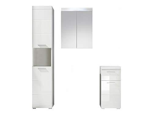 Amanda Badmöbel weiß Design 3-teilig, Hochschrank, Stauraumschrank, Spiegelschrank - Hochglanz - 163 x 190 cm