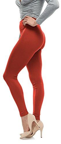 Lush Moda Seamless Full Length Basic Fleece Leggings - Variety of Colors - Rust OS
