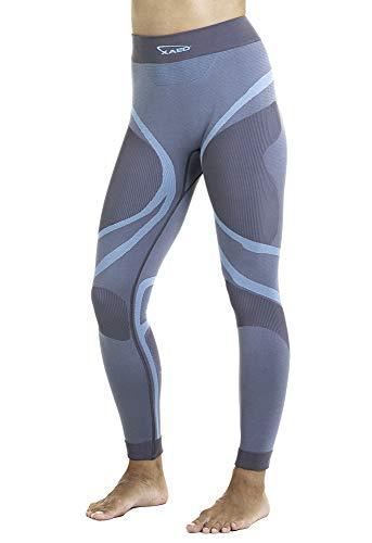 XAED, pantaloni da sci per strato base, da donna, colore grigio/blu chiaro, Taglia M, intimo termico donna