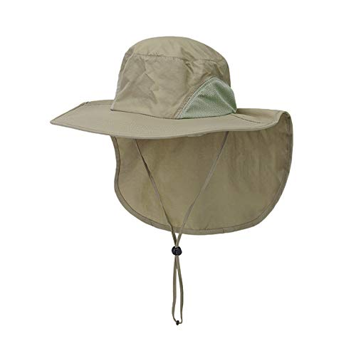 Faletony Outdoor Sonnenhut mit Nackenschutz, UV Schutz Faltbar Buschhut Boonie Hat Fischerhüte Bucket Safari Hut für Damen Herren (Khaki)