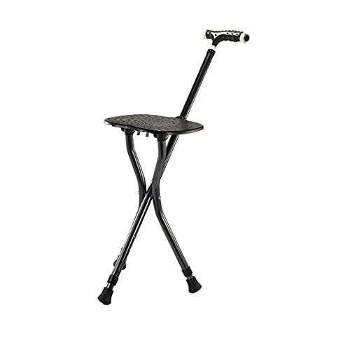Bastón Silla Plegable con Asiento y luz LED Altura Ajustable Muletas Adulto Aluminio Carga hasta 150 kg para Anciano,Negro