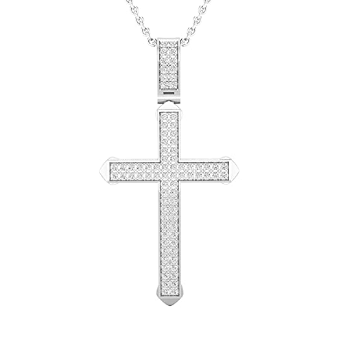 Dazzlingrock Collection 0.25 Carat (ctw) Round White Diamond Mens Classic Traditional Cross Faith & Fashion Charm Pendant with 18 Inch Silver Chain 1/4 CT   925 Sterling Silver